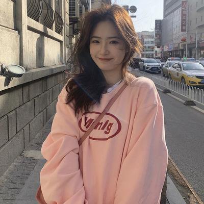 2021年新款ins潮炸街vintage粉色甜酷卫衣女春秋薄款宽松超火上衣