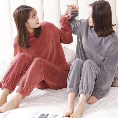 74877/仙女女装套装秋冬款珊瑚绒保暖宽松学生家居服大码加厚睡衣女外穿