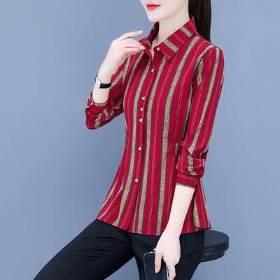 87978/2021秋季新款洋气条纹衫长袖大码气质码妈妈装百搭修身显瘦雪纺衫