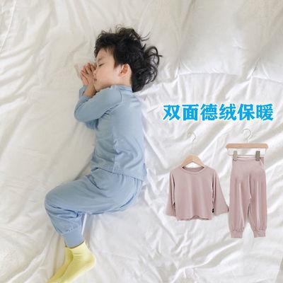76091/德绒儿童保暖家居服发热圆领两件套纯色男女童打底秋衣裤套装加厚