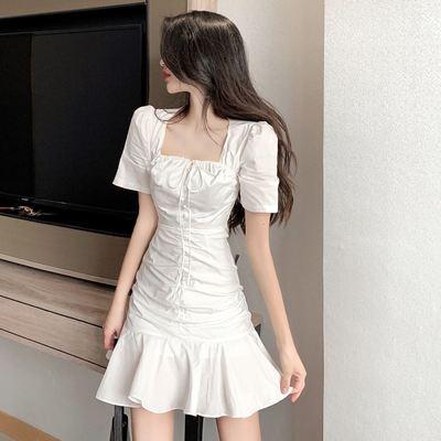 显瘦小白裙法式褶皱方领抽绳短款连衣裙2021新款夏季现货代发
