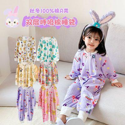 78624/儿童连体睡衣春秋男女宝宝睡袋分腿防踢被一体纯棉薄款婴儿家居服