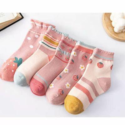 76054/5双装儿童袜子女童纯棉春夏季女孩短中筒袜秋天宝宝薄款袜吸汗