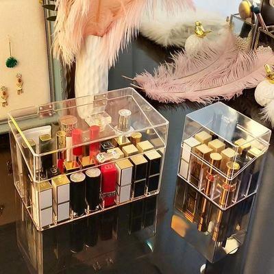 74646/少女心透明口红收纳格桌面口红收纳盒唇釉唇膏收纳置物口红盒简约