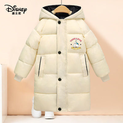 迪士尼儿童棉服男女童秋冬装加厚棉袄中长款中童男孩加绒保暖外套