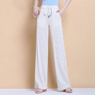 【舒适】冰丝阔腿裤女2021夏季薄款高腰垂感宽松显瘦修身休闲长裤