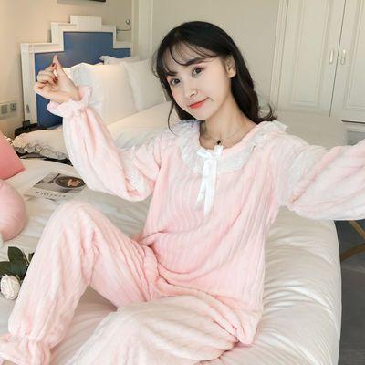 75035/睡衣女秋冬季珊瑚绒韩版学生甜美可爱公主风家居服法兰绒加厚套装
