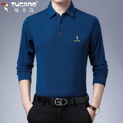 啄木鸟正品男士长袖t恤翻领薄款春秋新款打底纯色中年上衣Polo衫
