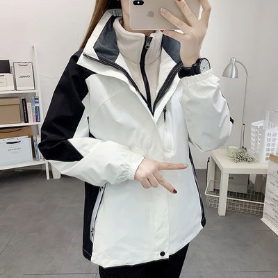 92396/户外冬冲锋衣女三合一两件套防水透气进西藏旅游登山服男潮牌外套