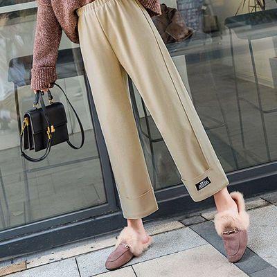 76035/毛呢阔腿裤女秋冬季2021年新款裤子高腰垂感休闲宽松加厚直筒裤潮