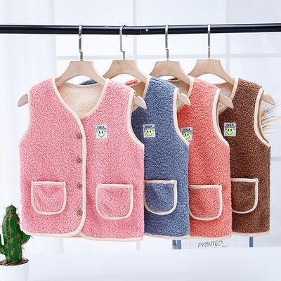 2021新款男女宝宝加绒马甲女童外穿羊羔绒保暖背心秋冬季儿童马夹