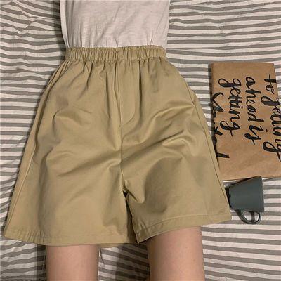 75229/2020夏季新款高腰显瘦宽松休闲裤女韩版松紧腰阔腿五分工装短裤潮