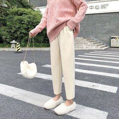 新款奶奶裤毛呢直筒裤子女秋冬2021新款宽松高腰休闲显瘦老爹裤潮
