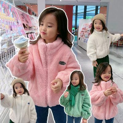 女童外套秋冬款洋气2021新款儿童双面加绒加厚毛毛衣保暖宝宝冬装