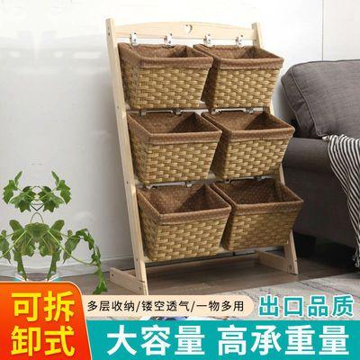 实木仿藤编置物架落地多层零食玩具收纳架客厅厨房卧室杂物整理架