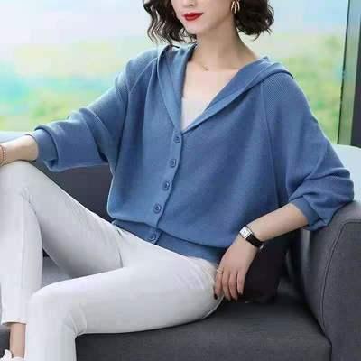 连帽羊毛开衫2021秋冬女款简约韩版宽松洋气纯色白搭长袖针织衫