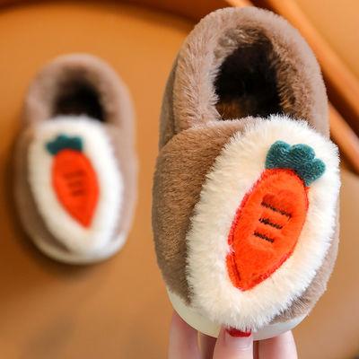 儿童棉鞋冬季加厚f防滑居家可爱胡萝卜宝宝时尚棉鞋亲子款棉鞋女