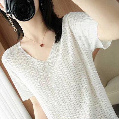V领2021新款短袖T恤韩版女冰丝针织衫宽松时尚百搭薄款打底衫
