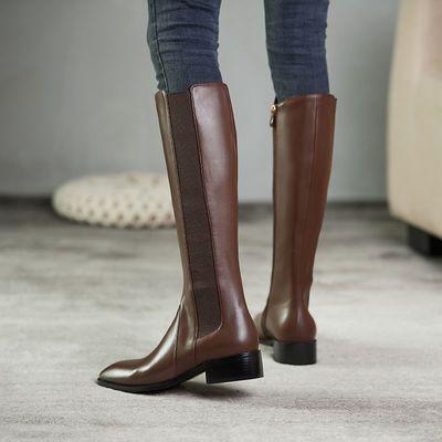 2021春秋新款方头平跟弹力靴真皮松紧骑士靴显瘦牛皮高筒靴女靴子