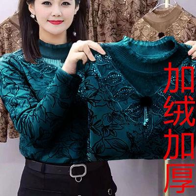 春秋冬加绒长袖打底衫女装洋气减龄蕾丝领镂空显瘦遮肚妈妈装潮