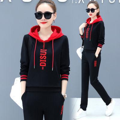 76855/2021年套装女宽松显瘦春秋新款韩版休闲衣服女卫衣运动两件套装潮