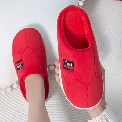 91701/冬季拖鞋女21新款可爱情侣外出家用厚底防滑防臭室内外穿棉拖鞋男