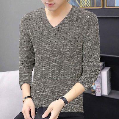C秋冬季长袖t恤男士上衣服v领打底衫潮流帅气大码体恤韩版男装