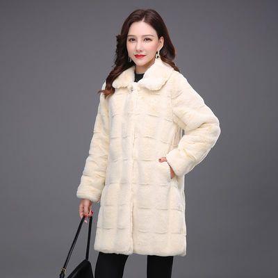 76733/丹麦貂绒大衣女2021冬季新款皮毛一体中长款加厚高端气质毛呢外套