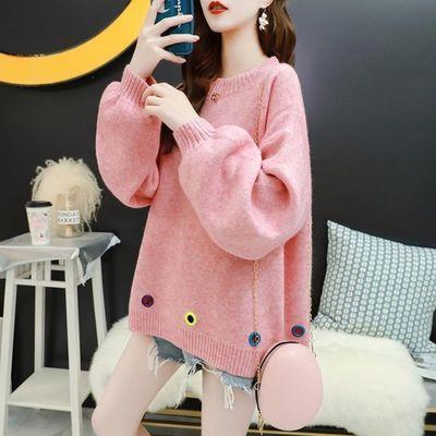 76158/甜美森女百搭大码套头毛衣女宽松慵懒新风春装新款韩版针织衫外套