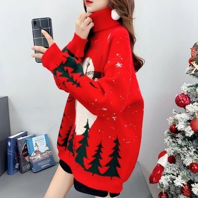76412/加厚高领毛衣女套头秋冬韩版红色圣诞小鹿长袖百搭针织衫宽松外穿