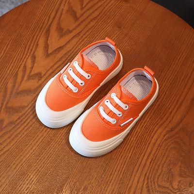 儿童帆布鞋女童鞋子2021年春秋新款纯色套脚一脚蹬板鞋宝宝休闲鞋
