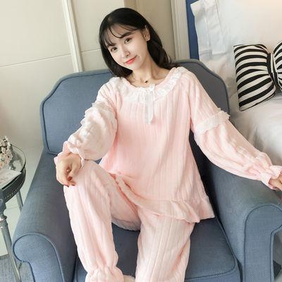 2021新款秋冬季可爱家居服两件套装甜美蝴蝶结可外穿法兰绒睡衣女