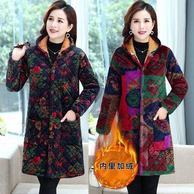 中老年女装工作罩衣秋冬季大码棉服胖妈妈装棉衣加绒加厚棉袄外套