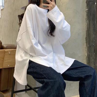 78989/两边开叉长袖t恤女2021秋季新款学生韩版宽松内搭打底衫上衣ins潮