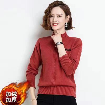 半高领毛衣女士宽松外穿2021新款套头宽松针织打底衫秋冬加绒加厚