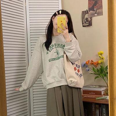 秋冬季灰色卫衣女春薄款2021年新款圆领宽松韩风字母印花长袖上衣
