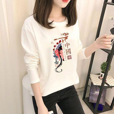 77451/2021秋装新款时尚长袖T恤女装国风复古印花t恤白色圆领女士上衣潮