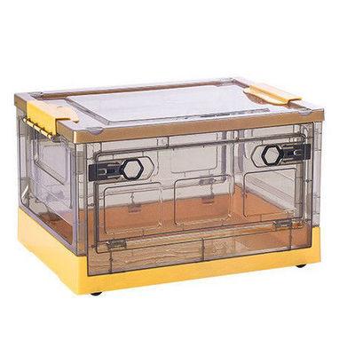 78753/折叠收纳箱带轮子透明学生装书整理箱子塑料带滑轮书箱书本收纳盒