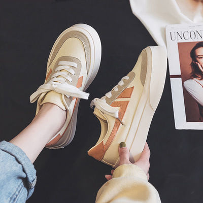 90101/脏脏橘大头帆布鞋女2021新款春秋季韩版百搭学生小白鞋小众板鞋子