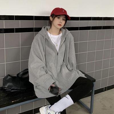 纯色韩版通勤卫衣女oversize灰色连帽卫衣拉链外套女ins潮上衣