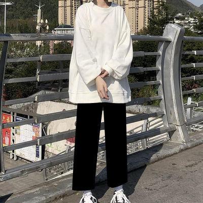 秋季新款套装圆领卫衣女学生韩版+黑色宽松阔腿裤时尚两件套ins潮