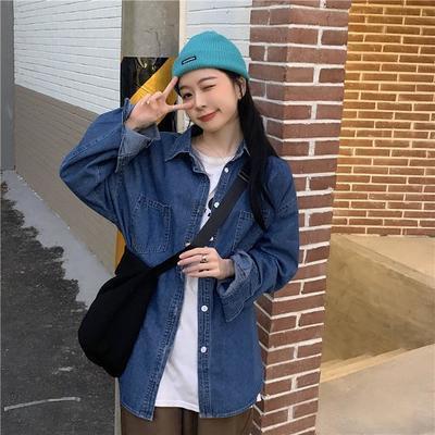 88795/牛仔衬衫女早春2021年新款宽松外穿百搭中长款设计感衬衣长袖上衣