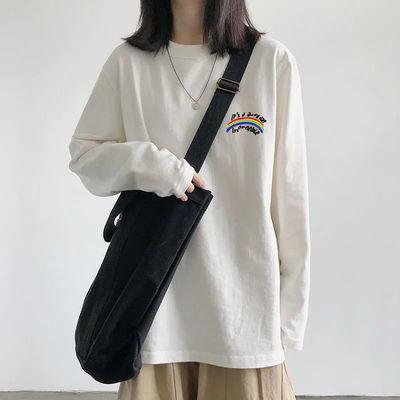 纯棉白色t恤女秋装2021新款简约长袖上衣宽松外穿秋衣内搭打底衫