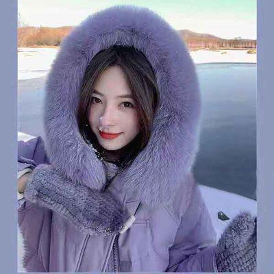 夏诗文白鸭绒狐狸大毛领连帽羽绒服女冬2021新款紫色外套中长款女