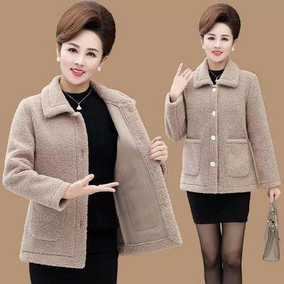 羊羔绒新款外套女贵气中老年颗粒绒短款洋气上衣秋冬加厚毛呢女装