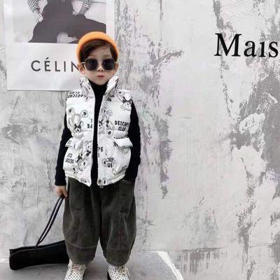 小熊男女童装冬季羽绒马甲外穿儿童背心加厚短款外套