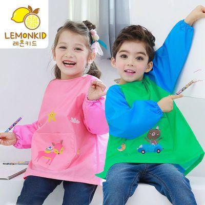 LEMONKID儿童吃饭衣环保罩衣防水围兜儿童画画衣反穿衣夏季动物款