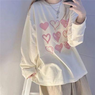 创意爱心设计感宽松长袖T恤女学生百搭盐系新款秋装卫衣闺蜜ins潮