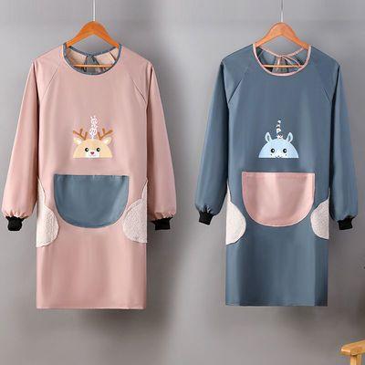 罩衣长袖围裙家用家务厨房防油防水围腰韩版时尚可爱成人做饭罩衣