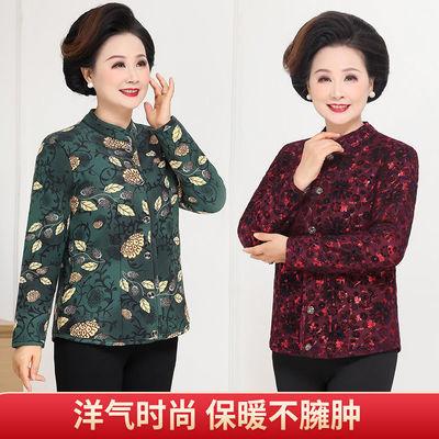 91315/驼绒立领棉服中老年加厚加绒大码贴身穿小棉袄冬居家时尚妈妈短款